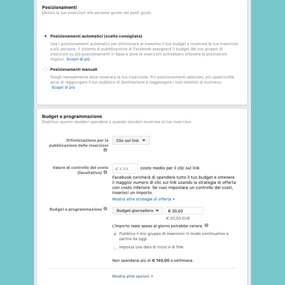 Facebook ADS filtri posizionamenti e budget